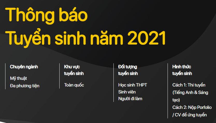 Thông báo tuyển sinh thiết kế đồ họa 2021